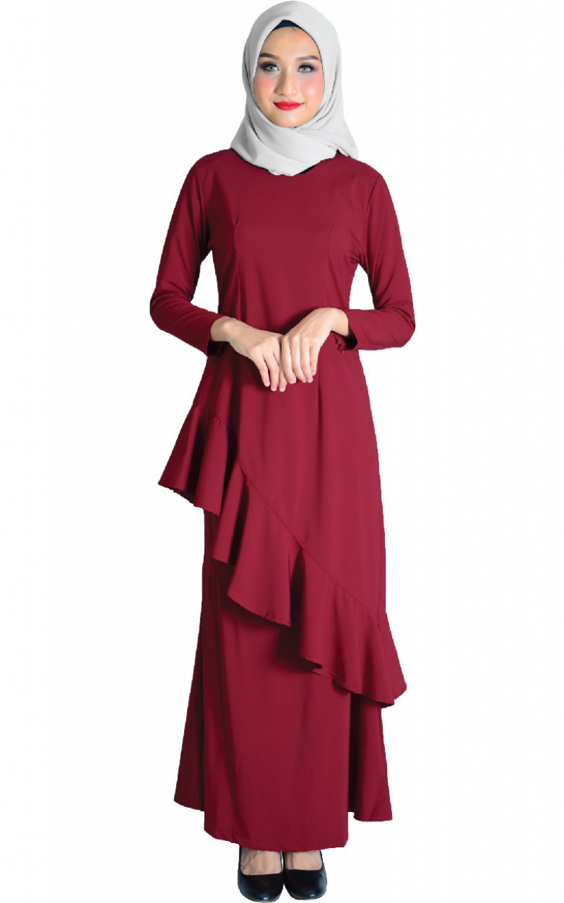 Family Set Baju Kurung Fareesh Maroon Baju Kurung Women