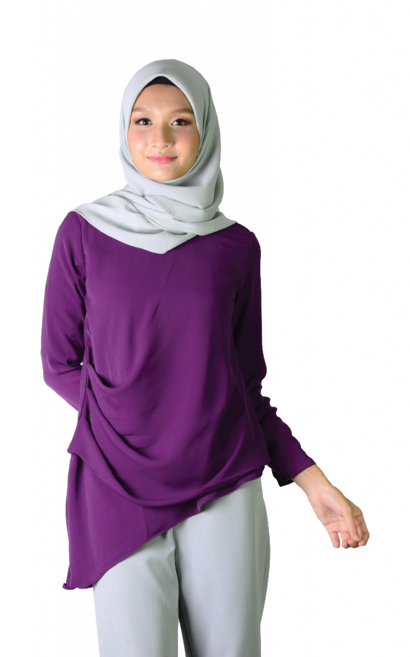 ERICA ASYMMETRICAL BLOUSE - DARK PURPLE