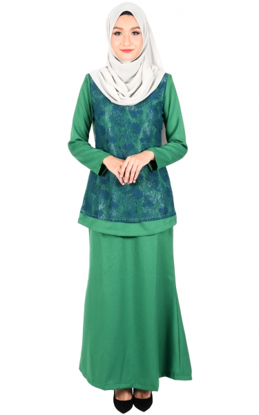 (FAMILY SET) BAJU KURUNG LACE KALINA - GREEN