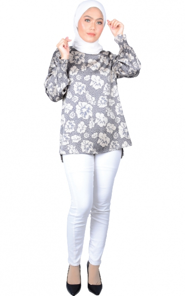 SARA PUFFY SLEEVE BLOUSE - DARK GREY