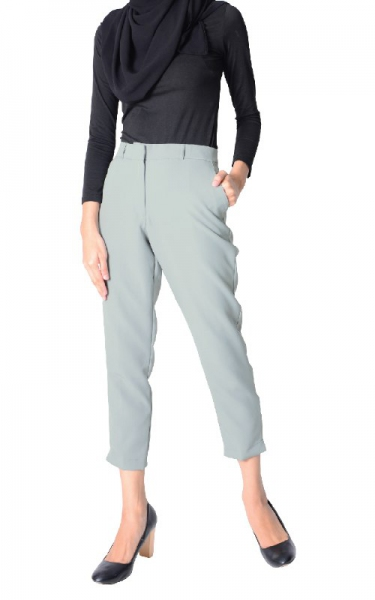 ODELIA CIGARETTE PANTS - LIGHT GREY
