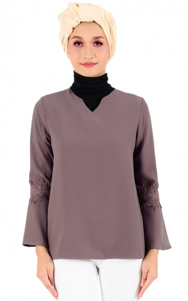 LAUREL LACE SLEEVE BLOUSE - DEEP LAVENDER