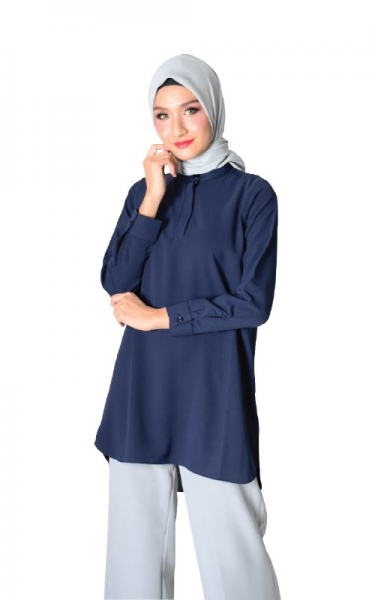 DIEDRA TUNIC BLOUSE - NAVY BLUE