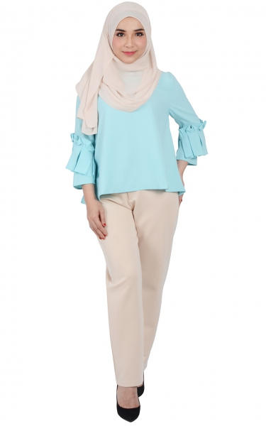 CARRA PLEATED SLEEVE BLOUSE - TIFFANY BLUE