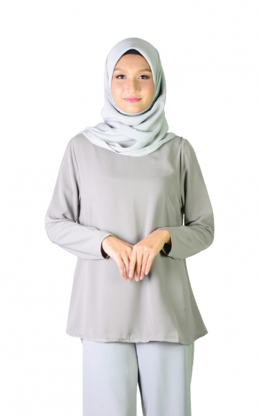 QISHA FLARED BLOUSE - GREY