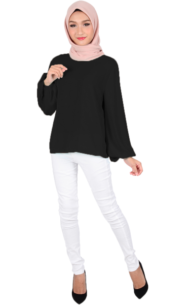 ASTER BUBBLE SLEEVE BLOUSE - BLACK