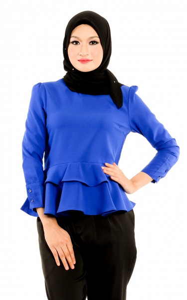 M&N TALIYA FRILLED BLOUSE - BLUE
