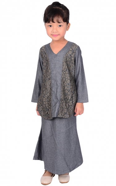 (FAMILY SET) KIDS BAJU KURUNG LACE PRISCA - DARK GREY