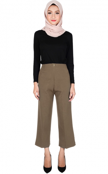 ADELYN WIDE LEGGED PANTS - DARK BROWN