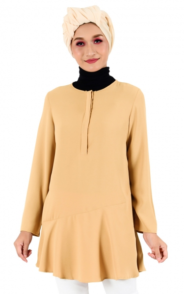 LENIA FLARE BUTTON TUNIC - MOCHA
