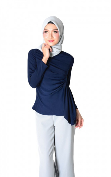 AMANDA DECORATIVE PLEAT BLOUSE - NAVY BLUE