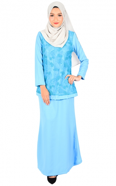 (FAMILY SET) BAJU KURUNG LACE KALINA - LIGHT BLUE