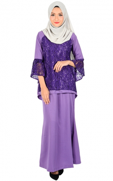 (FAMILY SET) BAJU KURUNG LACE MOLLY - PURPLE