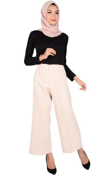STELLA WIDE LEGGED PANTS - BEIGE