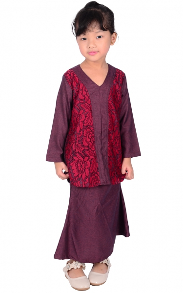 (FAMILY SET) KIDS BAJU KURUNG LACE PRISCA - RED WINE