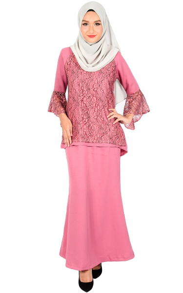 (FAMILY SET) BAJU KURUNG LACE MOLLY - DUSTY ROSE