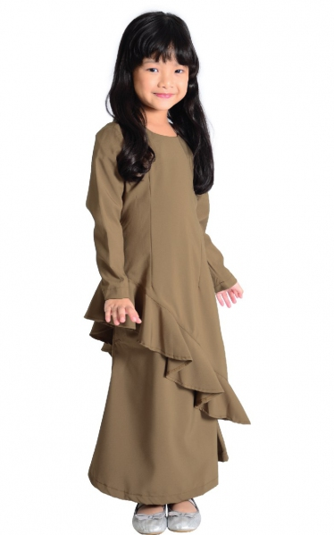 (FAMILY SET) KIDS BAJU KURUNG FAREESH - BROWN