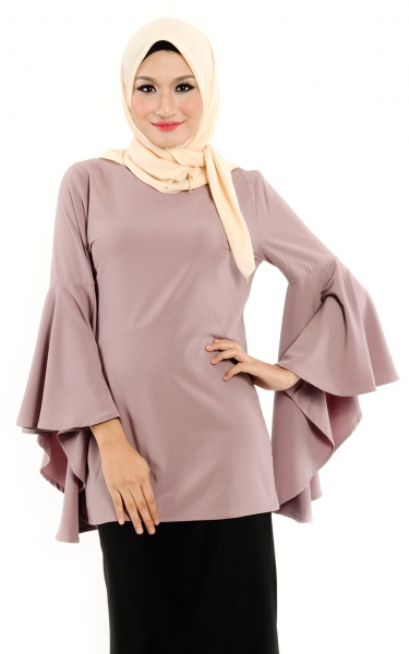 M&N LOEVA FLARE SLEEVE BLOUSE - DUSTY ROSE