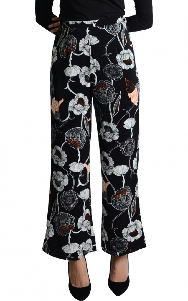 LEYNA PALAZO PANTS - BLACK