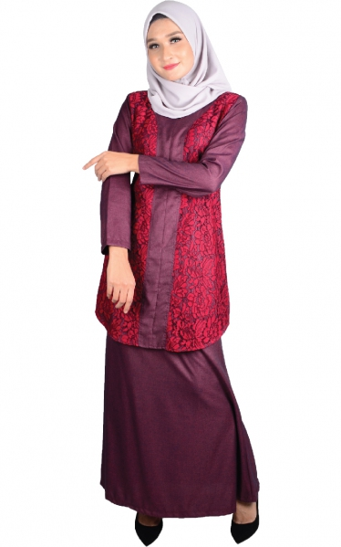 (FAMILY SET) BAJU KURUNG LACE PRISCA - RED WINE