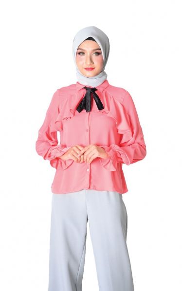 FYA RUFFLED BLOUSE WITH BOW - PEACH
