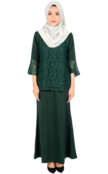 (FAMILY SET) BAJU KURUNG LACE MOLLY - EMERALD