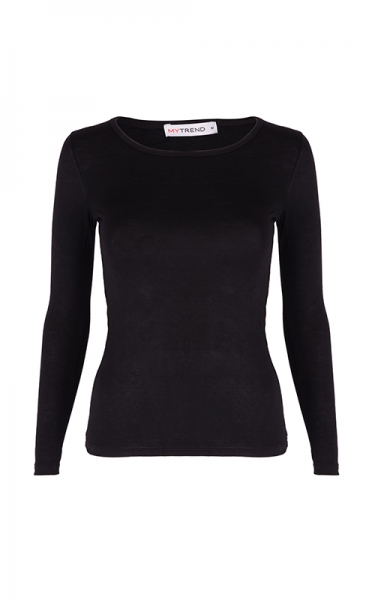 BASICS LAIRE LONG SLEEVE JERSEY TOP (BLACK) 1PCS