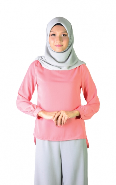 LALUNA BUBBLE SLEEVE BLOUSE - PEACH