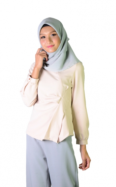 KIRANA DECORATIVE PLEAT BLOUSE - BEIGE