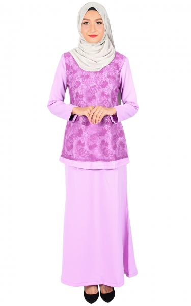 (FAMILY SET) BAJU KURUNG LACE KALINA - LIGHT PURPLE