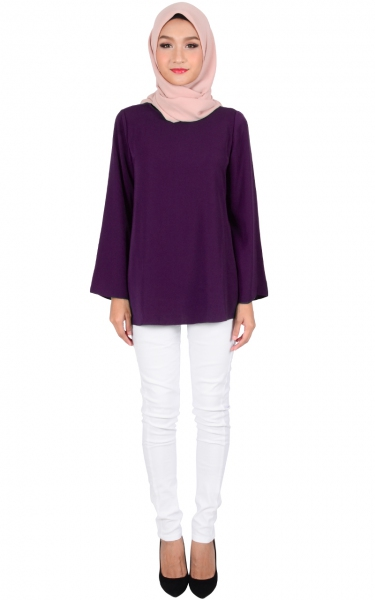 FLYNN FLARE BLOUSE - PURPLE