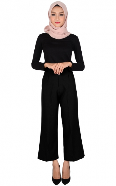 STELLA WIDE LEGGED PANTS - BLACK