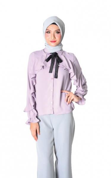 FYA RUFFLED BLOUSE WITH BOW - LAVENDER