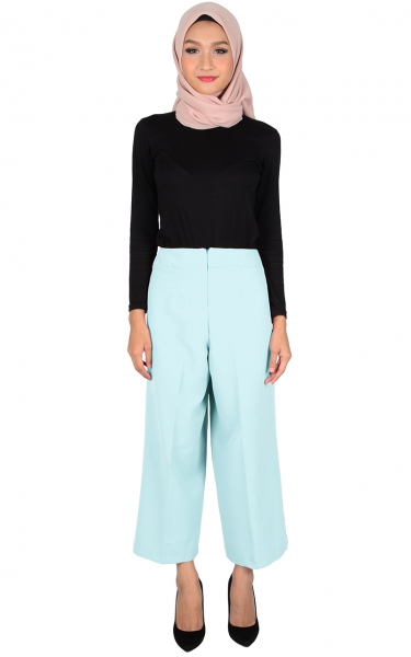 ADELYN WIDE LEGGED PANTS - DUSTY BLUE