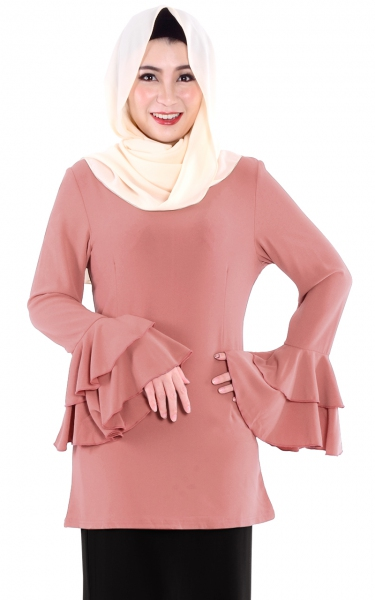 M&N TEANA FLARE BLOUSE - DUSTY ROSE