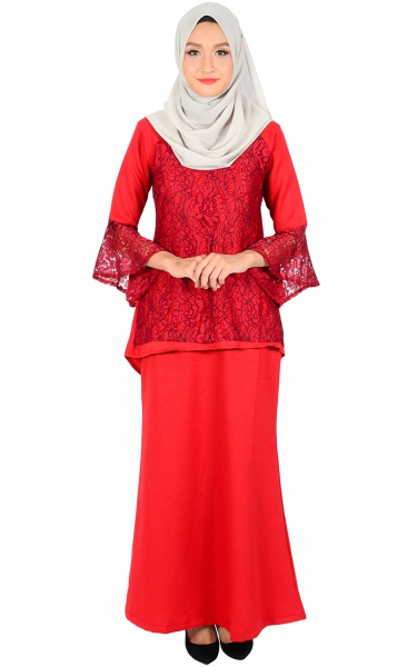 (FAMILY SET) BAJU KURUNG LACE MOLLY - RED
