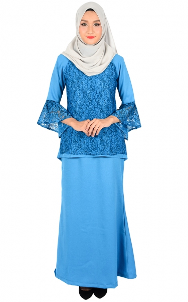 (FAMILY SET) BAJU KURUNG LACE MOLLY - LIGHT BLUE