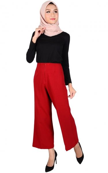 STELLA WIDE LEGGED PANTS - RED