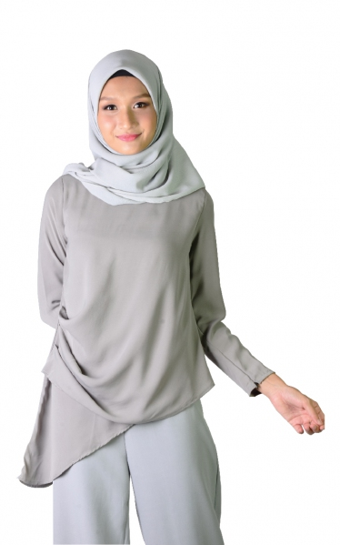 ERICA ASYMMETRICAL BLOUSE - GREY