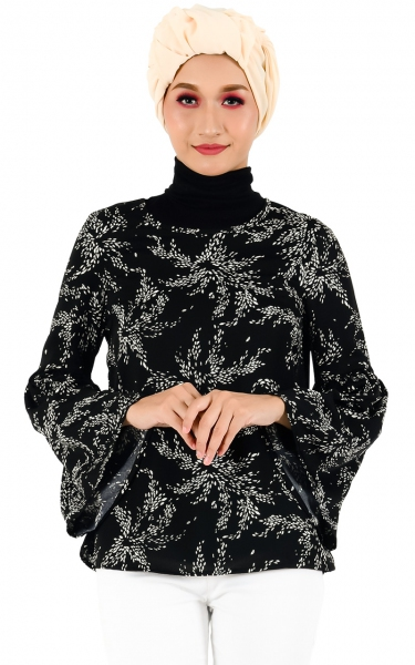 AUDREY BELL SLEEVE BLOUSE - BLACK