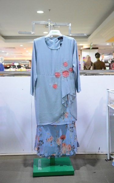 FEMINA BAJU KURUNG MODEN LACE - DUSTY BLUE