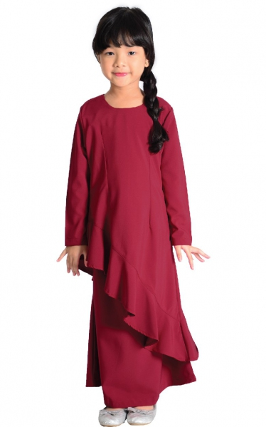 (FAMILY SET) KIDS BAJU KURUNG FAREESH - MAROON