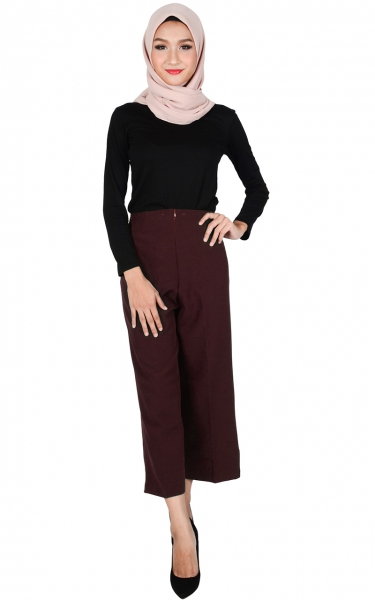 ALICE WIDE LEGGED PANTS - PURPLE MAROON