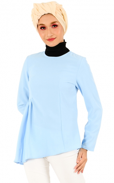 EKA GATHER BLOUSE - SKY BLUE