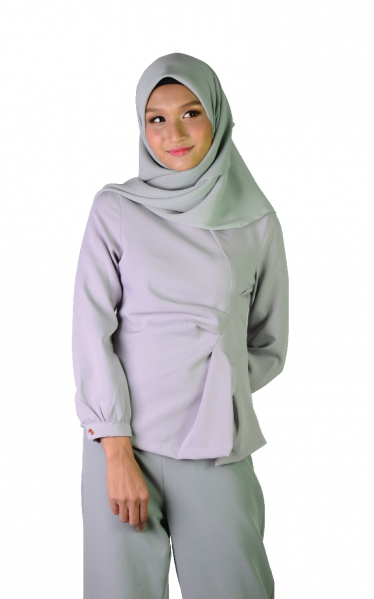 KIRANA DECORATIVE PLEAT BLOUSE - GREY