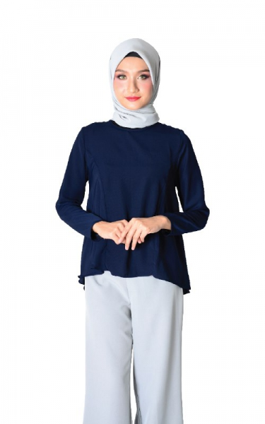 FIONA FLARE BLOUSE - NAVY BLUE