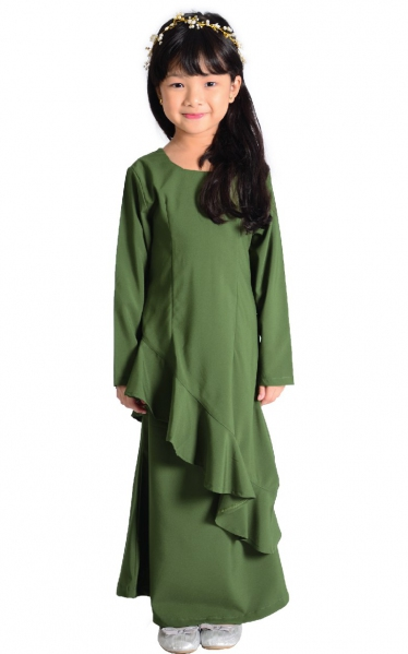 (FAMILY SET) KIDS BAJU KURUNG FAREESH - OLIVE