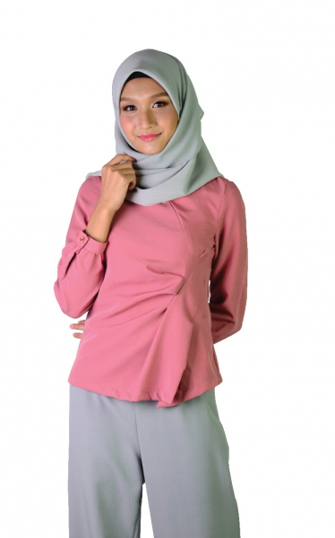 KIRANA DECORATIVE PLEAT BLOUSE - DUSTY PINK