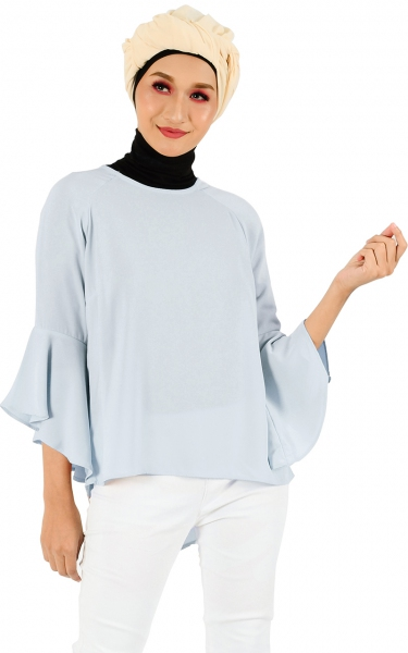 LEETA FLARE BLOUSE - ICE GREY