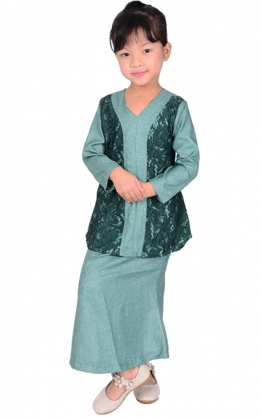 (FAMILY SET) KIDS BAJU KURUNG LACE PRISCA - GREEN